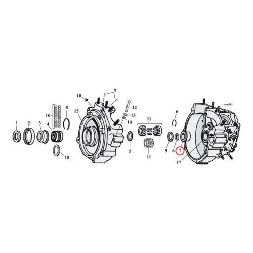 JIMS CRANKCASE BUSHING PINION +.002 INCH NO LOCKING DETENTS. Webshop voor onderdelen en parts voor Harley-Davidson