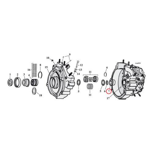 JIMS CRANKCASE BUSHING PINION +.032 INCH NO LOCKING DETENTS. Webshop voor onderdelen en parts voor Harley-Davidson