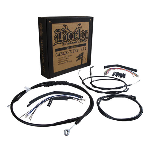BURLY APEHANGER CABLE/LINE KIT FOR BURLY 14 INCH NARROW BOTTOM APES; FOR SINGLE DISC; BLACK CABLES. Webshop voor onderdelen en parts voor Harley-Davidson