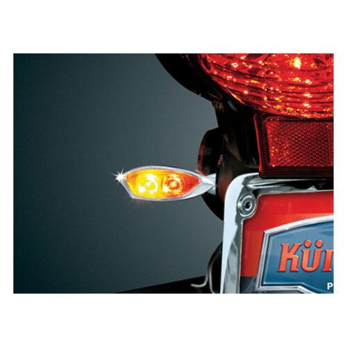 KURYAKYN RAZOR EYES TURNSIGNALS RED & AMBER 3 FUNCTION RUN-TURN-BRAKE; LED; M10X1.25 BY 2CM MOUNTING STUD. Webshop voor onderdelen en parts voor Harley-Davidson