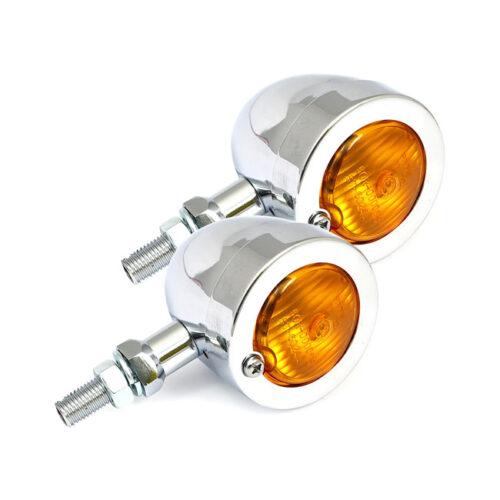 BULLET TURN SIGNAL CHROME PLATED STEEL; 20MM STEM; M10 BOLT. Webshop voor onderdelen en parts voor Harley-Davidson