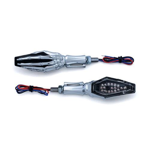 KURYAKYN SKELETON HAND TURNSIGNALS ECE APPROVED; CHROME STEM & BLACK HEAD; 12V APPLICATIONS; MOUNTS WITH M8-1.25 X 20MM. Webshop voor onderdelen en parts voor Harley-Davidson