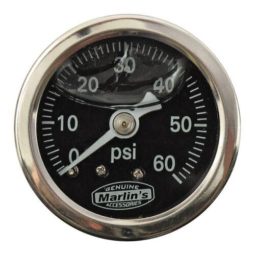 MARLINS OIL PRESSURE GAUGE BLACK; 60 PSI. Webshop voor onderdelen en parts voor Harley-Davidson