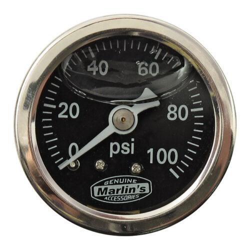 MARLINS OIL PRESSURE GAUGE 100 PSI; BLACK. Webshop voor onderdelen en parts voor Harley-Davidson