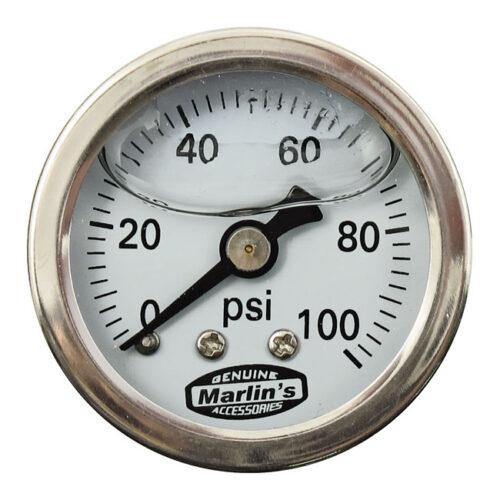 MARLINS OIL PRESSURE GAUGE 100 PSI; WHITE. Webshop voor onderdelen en parts voor Harley-Davidson