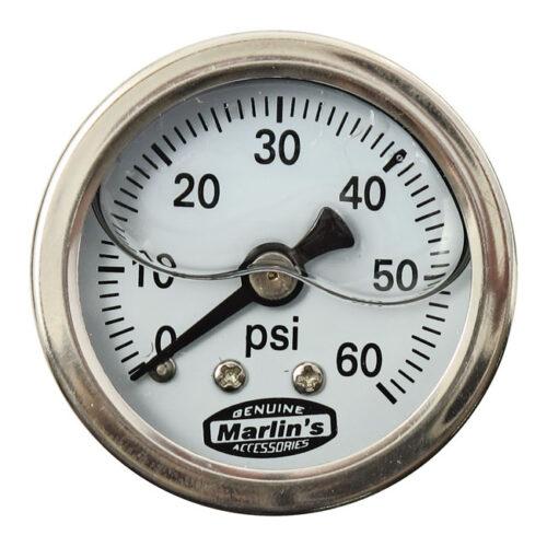 MARLINS OIL PRESSURE GAUGE WHITE; 60 PSI. Webshop voor onderdelen en parts voor Harley-Davidson