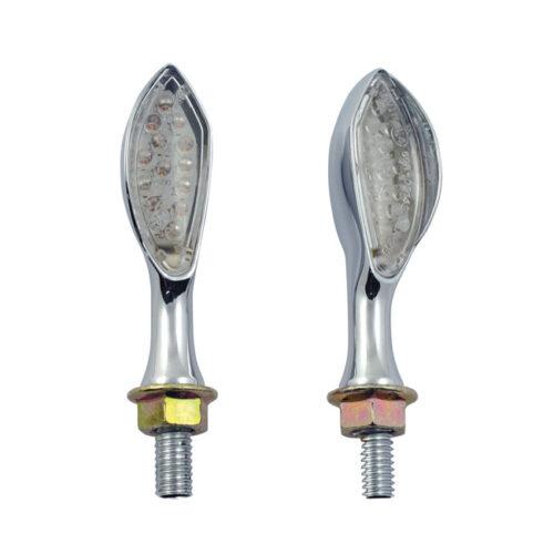 AMBUSH LED MINI TURN SIGNALS CHROME; CLEAR LENS AMBER LED. Webshop voor onderdelen en parts voor Harley-Davidson