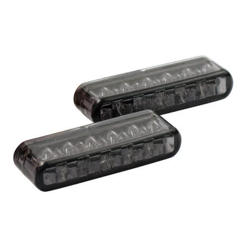 SHORTY LED TURN SIGNALS SMOKE LENS; E-MARKED; APPROX. DIMENSIONS: 40MM WIDE X 8MM HIGH X 13MM DEEP. Webshop voor onderdelen en parts voor Harley-Davidson