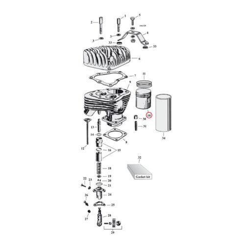 PISTON KIT +.010 WITH RINGS 1 KIT NEEDED. Webshop voor onderdelen en parts voor Harley-Davidson