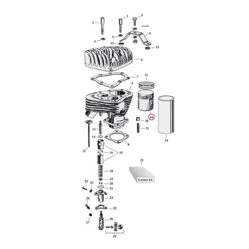 PISTON KIT +.030 WITH RINGS 1 KIT NEEDED. Webshop voor onderdelen en parts voor Harley-Davidson