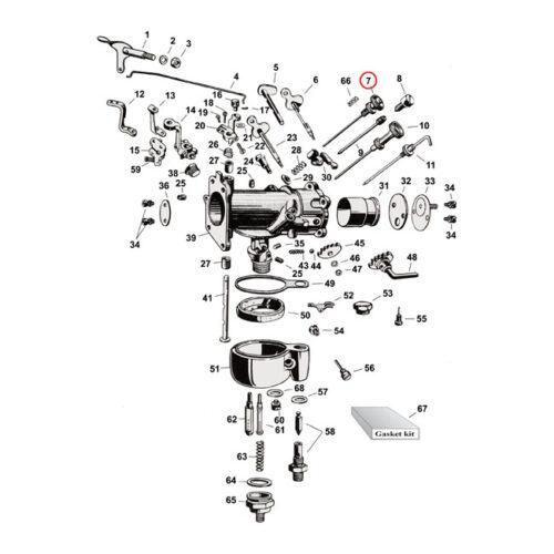 LOW SPEED NEEDLE VALVE COMPLEET . Webshop voor onderdelen en parts voor Harley-Davidson