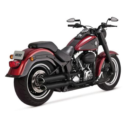 "V&H TWIN SLASH 3-1/4"" SLIP ONS EC BLACK; EC APPROVED; 3-1/4 FULL COVERAGE HEATSHIELDS. Webshop voor onderdelen en parts voor Harley-Davidson"