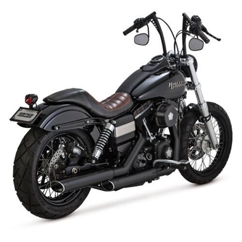 "V&H TWIN SLASH 3-1/4"" SLIP ONS EC EC APPROVED; BLACK; 3-1/4 INCH FULL COVERAGE HEATSHIELDS; INCL 3WAY CATALYTIC CONVERTER. Webshop voor onderdelen en parts voor Harley-Davidson"