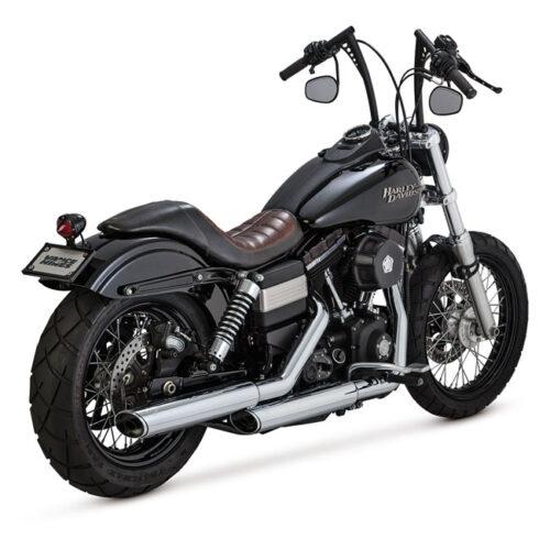 "V&H TWIN SLASH 3-1/4"" SLIP ONS EC EC APPROVED; CHROME; 3-1/4 INCH FULL COVERAGE HEATSHIELDS; INCL 3WAY CATALYTIC CONVERTER. Webshop voor onderdelen en parts voor Harley-Davidson"