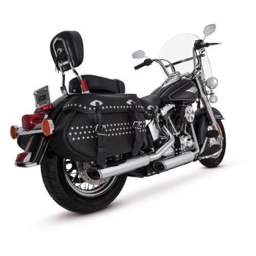 "V&H TWIN SLASH 3-1/4"" SLIP ONS EC CHROME; EC APPROVED; 3-1/4 FULL COVERAGE HEATSHIELDS. Webshop voor onderdelen en parts voor Harley-Davidson"