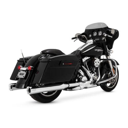 """V&H ELIMINATOR 400 SLIP-ONS CHROME; 4"""" ROUND MUFFLERS; BILLET END CAPS; FITS SADDLEBAGS W/EXTENDED SKIRTS. Webshop voor onderdelen en parts voor Harley-Davidson"""