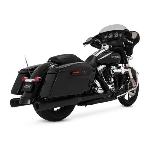 """V&H ELIMINATOR 400 SLIP-ONS BLACK; 4"""" ROUND MUFFLERS; BILLET END CAPS; FITS SADDLEBAGS W/EXTENDED SKIRTS. Webshop voor onderdelen en parts voor Harley-Davidson"""