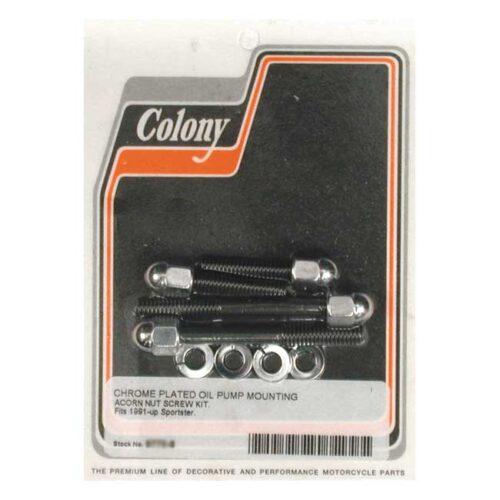 COLONY OIL PUMP MOUNT KIT ACORN CHROME. Webshop voor onderdelen en parts voor Harley-Davidson