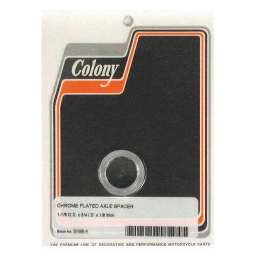 COLONY UNIV. AXLE SPACER 1/8 INCH LONG CHROME; 3/4 ID X 1 1/8 OD. Webshop voor onderdelen en parts voor Harley-Davidson