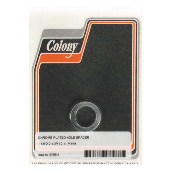 COLONY UNIV. AXLE SPACER 1/4 INCH LONG CHROME; 3/4 ID X 1 1/8 OD. Webshop voor onderdelen en parts voor Harley-Davidson