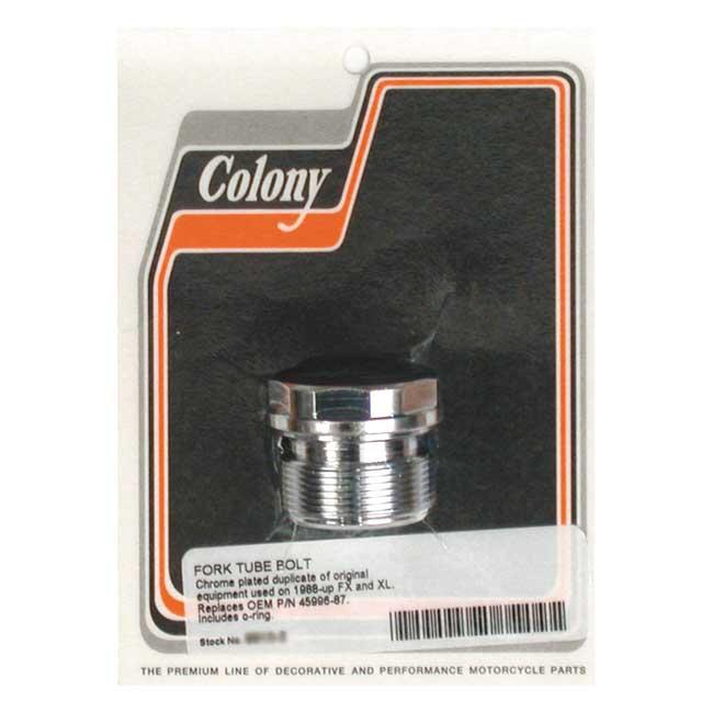 COLONY FORK TUBE CAPS CHROME; STOCK STYLE FLAT TOP; 39MM TUBES. Webshop voor onderdelen en parts voor Harley-Davidson