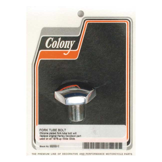 COLONY FORK TUBE CAP CHROME; DOMED; NOT-VENTED. Webshop voor onderdelen en parts voor Harley-Davidson