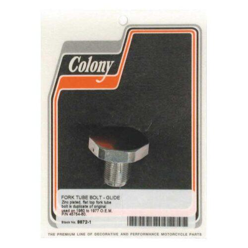 COLONY FORK TUBE CAP ZINC; OEM STYLE FLAT TOP; 41MM TUBES. Webshop voor onderdelen en parts voor Harley-Davidson