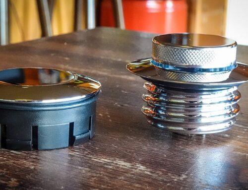 Chrome (pop-up) gascap-set (NIEUW in verpakking)